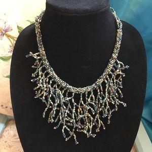 Handmade Boho Seed Bead Statement Rope Necklace